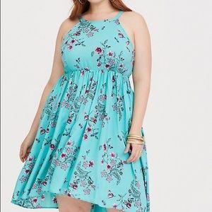 Torrid Size 4 Turquoise Floral Hi-Lo Challis Dress